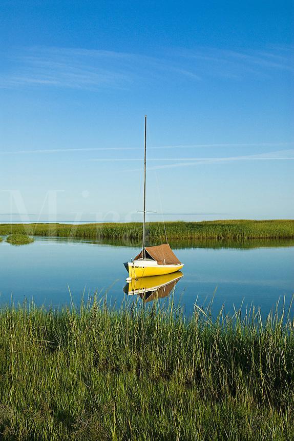 Anchored sailboat in Cape Cod Bay, Orleans, Cape Cod, MA