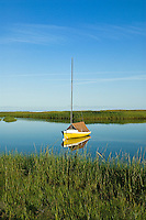 Anchored sailboat in Cape Cod Bay, Orleans, Cape Cod, MA