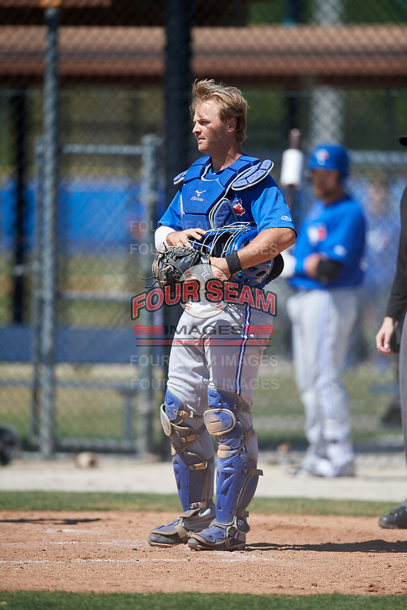 Toronto Blue Jays catcher Ryan Hissey (33) during a Minor League Spring Training Intrasquad game on March 14, 2018 at Englebert Complex in Dunedin, Florida.  (Mike Janes/Four Seam Images)