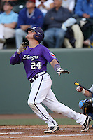 Josh Elander # 24 of the TCU Horned Frogs bats against the UCLA Bruins at the Los Angeles super regionals at Jackie Robinson Stadium on June 9, 2012 in Los Angeles,California. UCLA defeated TCU 4-1.(Larry Goren/Four Seam Images)
