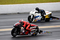 27th September 2020, Gainsville, Florida, USA;  Pro Stock Motorcycle drivers Matt Smith (3) and Kelly Clontz (1981) during the 51st annual Amalie Motor Oil NHRA Gatornationals