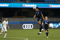 SAN JOSE, CA - SEPTEMBER 5: Oswaldo Alanis #4 of the San Jose Earthquakes goes up for a header during a game between Colorado Rapids and San Jose Earthquakes at Earthquakes Stadium on September 5, 2020 in San Jose, California.