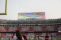 Planes fly over, Saturday, September 11, 2021 during a football game at Reynolds Razorback Stadium in Fayetteville. Check out nwaonline.com/210912Daily/ for today's photo gallery. <br /> (NWA Democrat-Gazette/Charlie Kaijo)