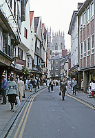 York: Low Petergate--The Minster in the distance. Photo '87.