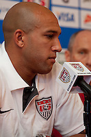 Tim Howard of the US Men's National Team during a press conference in Chicago, Illinois prior to their match vs. Honduras..
