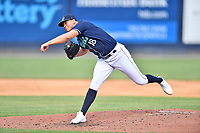 Asheville Tourists pitcher Juan Pablo Lopez (18) delivers a pitch during a game against the Bowling Green Hot Rods on May 27, 2021 at McCormick Field in Asheville, NC. (Tony Farlow/Four Seam Images)