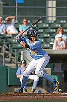 Myrtle Beach Pelicans outfielder Teodoro Martinez #20 at bat during the first game of a doubleheader against the Carolina Mudcats at Tickerreturn.com Field at Pelicans Ballpark on May 10, 2012 in Myrtle Beach, South Carolina. Myrtle Beach defeated Carolina by the score of 2-1. (Robert Gurganus/Four Seam Images)