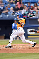 Beer City Tourists second baseman Max George (3) swings at a pitch during a game against the Lakewood BlueClaws at McCormick Field on June 1, 2017 in Asheville, North Carolina. The Tourists defeated the BlueClaws 8-5. (Tony Farlow/Four Seam Images)