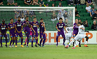27th March 2021; HBF Park, Perth, Western Australia, Australia; A League Football, Perth Glory versus Newcastle Jets; Ramy Najjarine of the Newcastle Jets takes a direct free kick over the Glory defensive wall