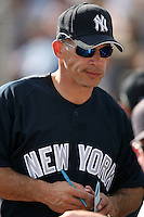 February 25, 2009:  Manager Joe Girardi of the New York Yankees during a Spring Training game at Dunedin Stadium in Dunedin, FL.  The New York Yankees defeated the Toronto Blue Jays 6-1.   Photo by:  Mike Janes/Four Seam Images