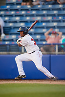 Salem Red Sox first baseman Jerry Downs (30) follows through on a swing during a game against the Lynchburg Hillcats on May 10, 2018 at Haley Toyota Field in Salem, Virginia.  Lynchburg defeated Salem 11-5.  (Mike Janes/Four Seam Images)