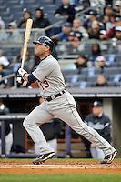 Apr 02, 2011; Bronx, NY, USA; Detroit Tigers catcher Alex Avila (13) during game against the New York Yankees at Yankee Stadium. Yankees defeated the Tigers 10-6. Mandatory Credit: Tomasso De Rosa