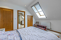 BNPS.co.uk (01202 558833)<br /> Pic: PurpleBricks/BNPS<br /> <br /> Pictured: A bedroom.<br /> <br /> A luxury ten-bedroom eco-home has gone on sale for offers in excess of £850,000 - the same price as a one-bedroom flat in Chelsea.<br /> <br /> The new owner will buy the chance to become an eco-laird, as the property can be run entirely off-grid and includes four lochs and 38 acres of land which could potentially be re-wilded.<br /> <br /> Leadburn Manor at West Linton is just 12 miles south of Edinburgh in Scotland, but looks out over open countryside.