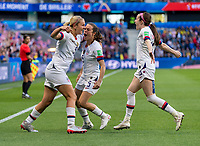 LE HAVRE,  - JUNE 20: Lindsey Horan #9 celebrates her goal with Kelley O'Hara #5 and Rose Lavelle #16 during a game between Sweden and USWNT at Stade Oceane on June 20, 2019 in Le Havre, France.