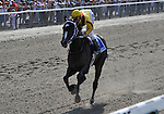 09 June 27: Calvin Borel rides Rachel Alexandra (no. 3) to victory in the 53rd running of the grade 1 Mother Goose Stakes for three year old fillies at Belmont Park in Elmont, New York.
