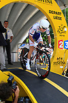 Jean Marc Marino (FRA) Saur-Sojasun powers down the start ramp of the Prologue of the 99th edition of the Tour de France 2012, a 6.4km individual time trial starting in Parc d'Avroy, Liege, Belgium. 30th June 2012.<br /> (Photo by Eoin Clarke/NEWSFILE)