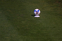 Covid secure match ball on a plinth by the side of the pitch during Colchester United vs West Ham United Under-21, EFL Trophy Football at the JobServe Community Stadium on 29th September 2020