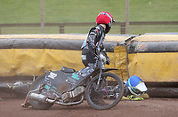 Heat 14: Alfie Bowtell (red) and Nick Laurence (blue) crash<br /> <br /> Photographer Rob Newell/CameraSport<br /> <br /> National League Speedway - Lakeside Hammers v Eastbourne Eagles - Lee Richardson Memorial Trophy, First Leg - Friday 14th April 2017 - The Arena Essex Raceway - Thurrock, Essex<br /> © CameraSport - 43 Linden Ave. Countesthorpe. Leicester. England. LE8 5PG - Tel: +44 (0) 116 277 4147 - admin@camerasport.com - www.camerasport.com