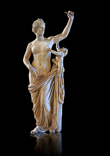 Venus and Cupid - a its or 2nd Roman statue restored in the 17th century by Alessandro l'Algarde. The statue was acquired in Rome in 1630 by Cardinal Richelieu. Restored by Alessandro l'Algarde the modern head is a copy of the Medici Venus or Aphrodite in Florence.  The Richelieu Collection, Inv No. MR 386 (Usual No Ma 2287), Louvre Museum, Paris.