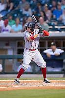 Tony Campana (1) of the Syracuse Chiefs at bat against the Charlotte Knights at BB&T BallPark on June 1, 2016 in Charlotte, North Carolina.  The Knights defeated the Chiefs 5-3.  (Brian Westerholt/Four Seam Images)