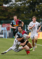 20th March 2021; Twickenham Stoop, London, England; English Premiership Rugby, Harlequins versus Gloucester; Harlequins, Gloucester; Martin Landajo of Harlequins being tackled before the try line by George Barton of Gloucester