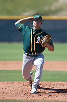 Oakland Athletics relief pitcher Josh Falk (70) during a Minor League Spring Training game against the Chicago Cubs at Sloan Park on March 19, 2018 in Mesa, Arizona. (Zachary Lucy/Four Seam Images)