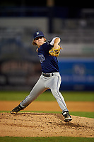 Pitcher Tyler Baum (8) of West Orange High School in Ocoee, Florida playing for the Tampa Bay Rays scout team during the East Coast Pro Showcase on July 29, 2015 at George M. Steinbrenner Field in Tampa, Florida.  (Mike Janes/Four Seam Images)