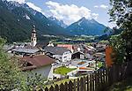 Austria, Tyrol, Stubai Valley, view across Fulpmes into Stubai Valley with Stubai Alps