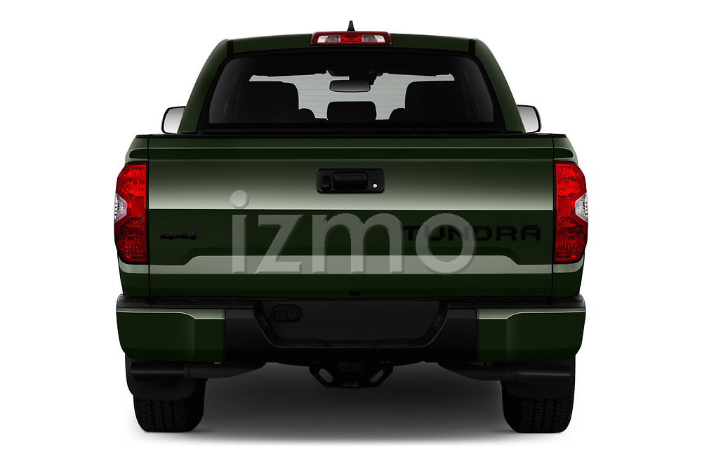 Straight rear view of 2020 Toyota Tundra TRD-Pro 4 Door Pick-up Rear View  stock images