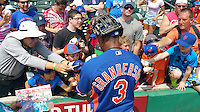 New York Mets outfielder Curtis Granderson (3) signs autographs before a Spring Training game against the St. Louis Cardinals on April 2, 2015 at Roger Dean Stadium in Jupiter, Florida.  The game ended in a 0-0 tie.  (Mike Janes/Four Seam Images)