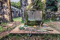 A plaque at the ancient Summer Palace of King Kamehameha III and Queen Kalama (or Kaniakapupu Ruins), Nu'uanu Valley, O'ahu.