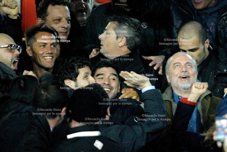 - NAPOLI 12 FEB  -  Stadio San Paolo Coppa Italia   Napoli - Roma<br />  NELLA FOTO:  maradona e de laurentiis<br />  © Riccardo Siano