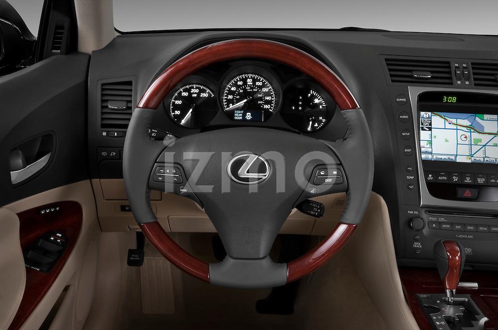 Steering wheel view of a 2010 Lexus GS Hybrid