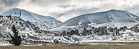 Castle Hill rock formations near Porters Pass after fresh snowfall, Canterbury, South Island, New Zealand, NZ