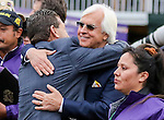 October 31, 2015 : American Pharoah trainer Bob Baffert (right) hugs assistant trainer Jimmy Barnes after winning the Breeders' Cup Classic at Keeneland Race Course October 31, 2015. Candice Chavez/ESW/CSM