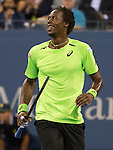Gael Monfils (FRA) loses to Roger Federer (SUI) in five sets, 4-6, 3-6, 6-4, 7-5, 6-2 at the US Open being played at USTA Billie Jean King National Tennis Center in Flushing, NY on September 4, 2014