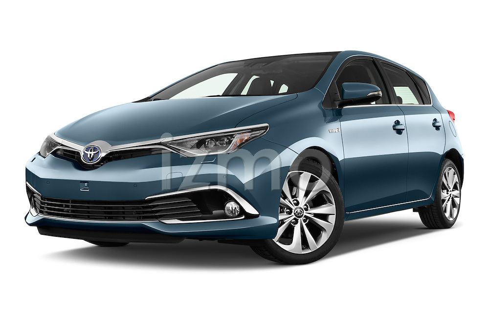Stock pictures of low aggressive front three quarter view of 2015 Toyota Auris Lounge 5 Door Hatchback Low Aggressive
