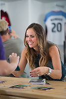 Orlando, FL - Saturday October 14, 2017: Heather Mitts signing autographs during the NWSL Championship match between the North Carolina Courage and the Portland Thorns FC at Orlando City Stadium.