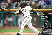 Chris Carter (33) of the Salt Lake Bees bats against the Albuquerque Isotopes at Smith's Ballpark on April 5, 2018 in Salt Lake City, Utah. Salt Lake defeated Albuquerque 9-3. (Stephen Smith/Four Seam Images)