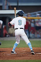 Benji Gilbert (9) (Hillsborough) of the Burlington Sock Puppets at bat against the Danville Otterbots at Burlington Athletic Park on June 5, 2021 in Burlington, North Carolina. (Brian Westerholt/Four Seam Images)
