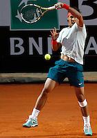 Lo spagnolo Rafael Nadal in azione durante gli Internazionali d'Italia di tennis a Roma, 15 Maggio 2013..Spain's Rafael Nadal in action during the Italian Open Tennis tournament ATP Master 1000 in Rome, 15 May 2013.UPDATE IMAGES PRESS/Riccardo De Luca..