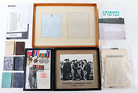 BNPS.co.uk (01202 558833)<br /> Pic: C&TAuctions/BNPS<br /> <br /> Pictured: Archive of Lt Bain.<br /> <br /> The medals and personal effects of an unsung hero of D-Day have emerged for sale for £6,000.<br /> <br /> Lieutenant Colonel Douglas Bain trialled the amphibious Duplex Drive tanks ahead of the Normandy landings in June 1944.<br /> <br /> He commanded three DD training schools preparing tanks for sea and river assaults, reporting personally to Field Marshal Bernard Montgomery.<br /> <br /> The dangerous trials, which tested the 'waterproofing' of the amphibious armoured vehicles, were carried out off the south coast of England.