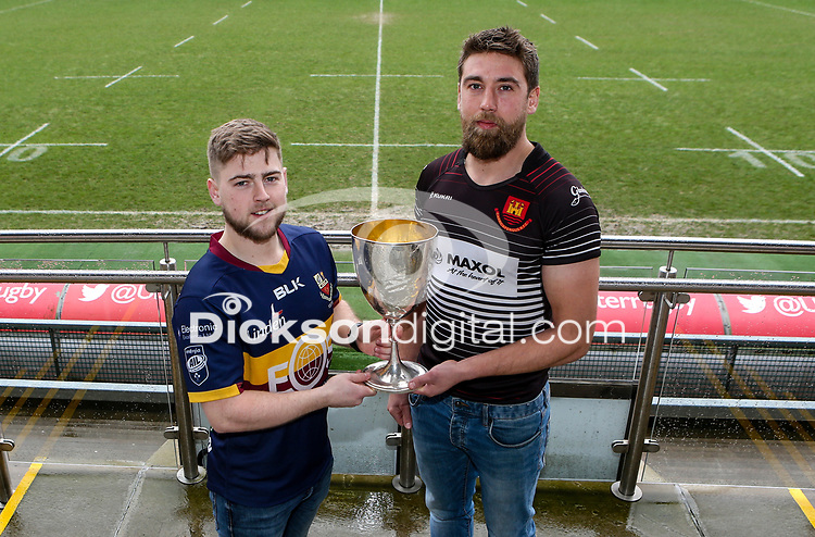 Monday 24th February 2020 | Deep River Rock Ulster Towns Cup Semi-Final Draw<br /> <br /> Pictured with the Deep River Rock Ulster Towns Cup is Banbridge RFC 2s captain Aaron Kennedy and Carrick RFC captain Johnny Sherriff. Photo by John Dickson / DICKSONDIGITAL