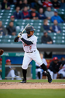 Indianapolis Indians left fielder Chris Bostick (7) bats during a game against the Toledo Mud Hens on May 2, 2017 at Victory Field in Indianapolis, Indiana.  Indianapolis defeated Toledo 9-2.  (Mike Janes/Four Seam Images)