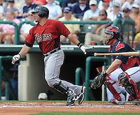 15 March 2009: Humberto Quintero of the Houston Astros hits during a game against the Atlanta Braves at the Braves' Spring Training camp at Disney's Wide World of Sports in Lake Buena Vista, Fla. Photo by:  Tom Priddy/Four Seam Images