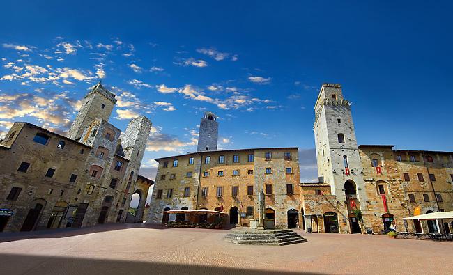 Medieval buildings of Piazza della Cisterna, San Gimignano, Tuscany Italy