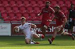 Guiness Pro1<br /> Replacement Andrew Trimble touches down to score a late try for Ulster.<br /> Scarlets v Ulster<br /> Parc y Scarlets<br /> <br /> 06.09.14<br /> ©Steve Pope-SPORTINGWALES