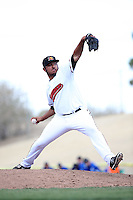 Adam Quintana (17) of the High Desert Mavericks pitches against the Rancho Cucamonga Quakes at Heritage Field on May 8, 2016 in Adelanto, California. Rancho Cucamonga defeated High Desert, 11-5. (Larry Goren/Four Seam Images)