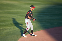 Lake Elsinore Storm shortstop Gabriel Arias (13) during a California League game against the Lancaster JetHawks on April 10, 2019 at The Hanger in Lancaster, California. Lake Elsinore defeated Lancaster 10-0 in the first game of a doubleheader. (Zachary Lucy/Four Seam Images)