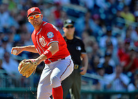 16 June 2012: Washington Nationals' third baseman Ryan Zimmerman in action against the New York Yankees at Nationals Park in Washington, DC. The Yankees defeated the Nationals in 14 innings by a score of 5-3, taking the second game of their 3-game series. Mandatory Credit: Ed Wolfstein Photo